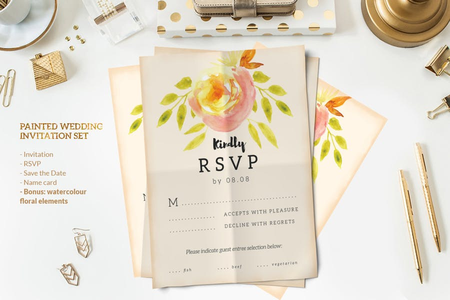 Painted Wedding Invitation Set - 0
