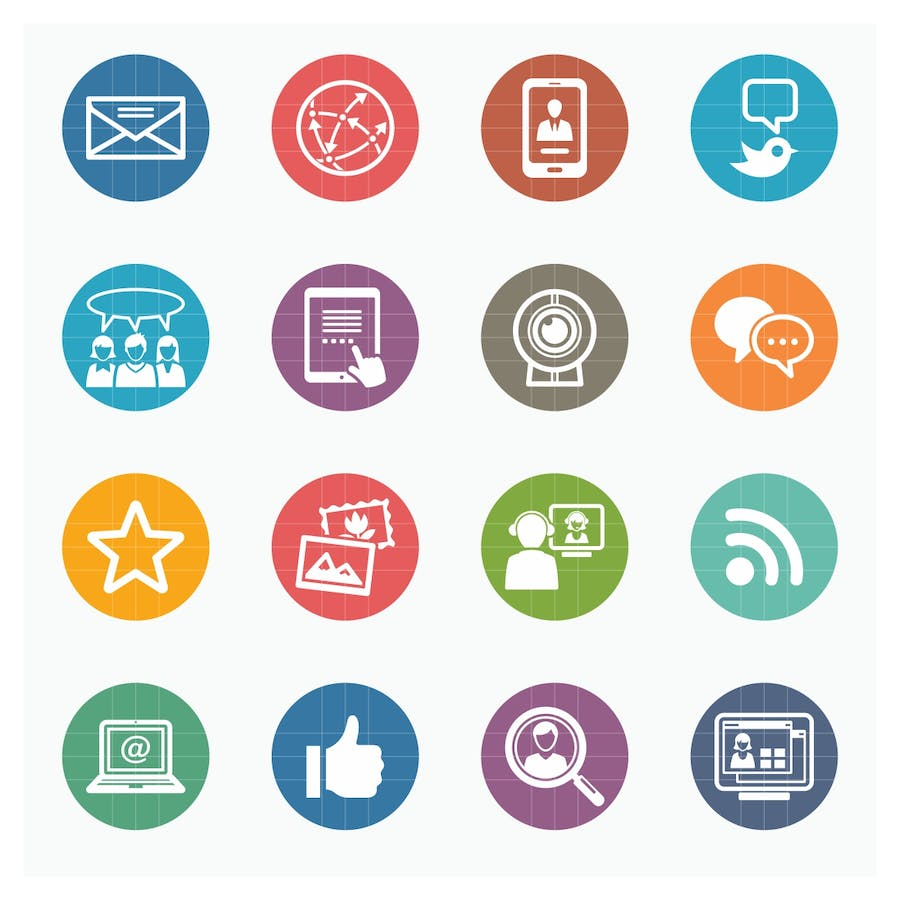Social Media Icons Set 1 - Colored Series - 1