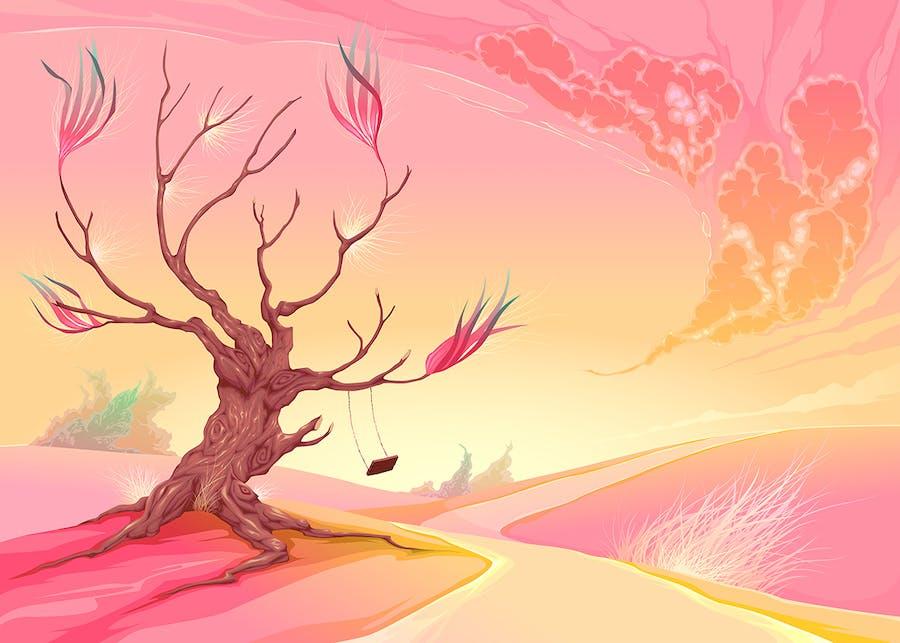 Romantic Landscape with Tree - 0