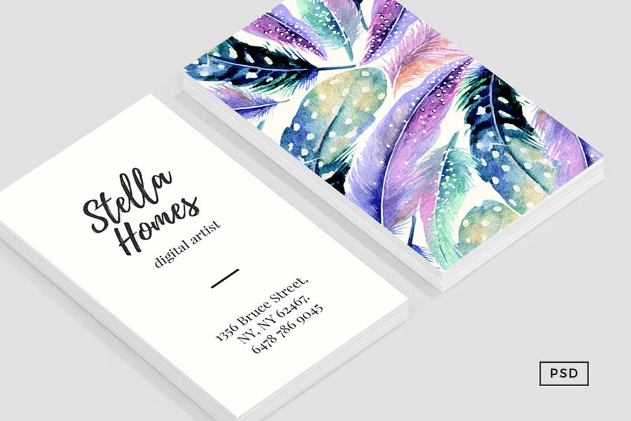 Wild Feathers Business Card Template - 0