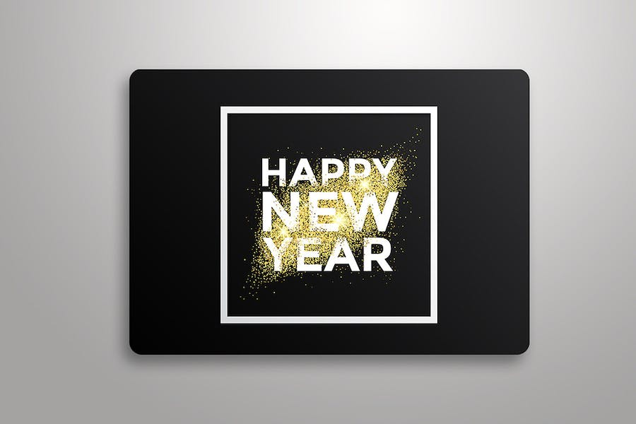 Gold glitter New Year greeting card - 3