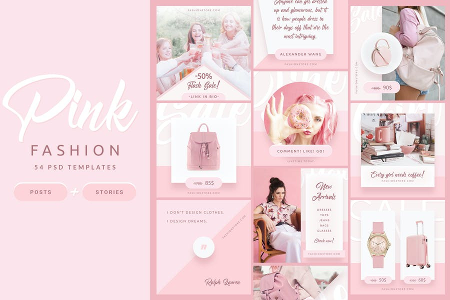 Pink Fashion - Instagram Posts & Stories - 0