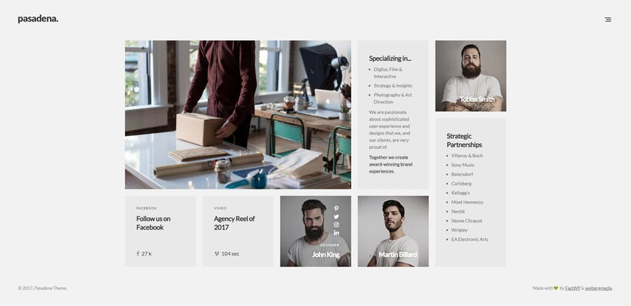 Pasadena - Contemporary Portfolio WordPress Theme - 0