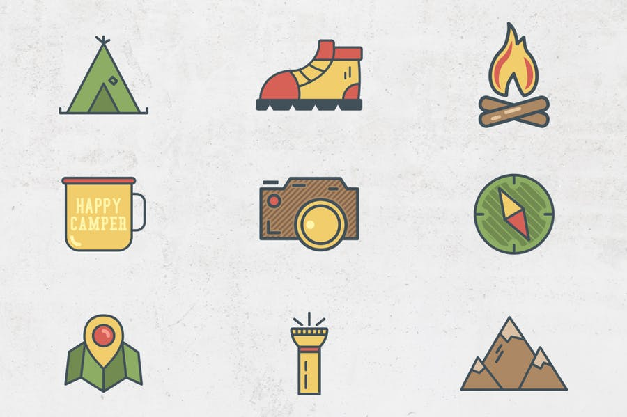 Outdoor Flat Icons - 0