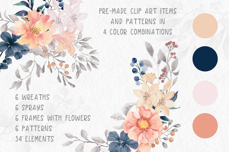 Coral Garden Watercolor Clip Art Collection - 0