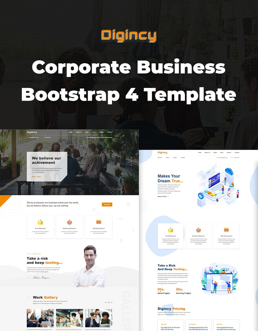 Digincy – Corporate Business Bootstrap 4 Template - 0