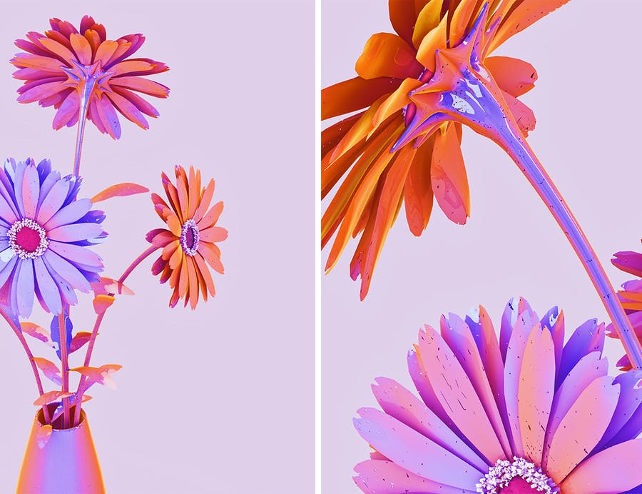 Holographic Flowers Abstract Backgrounds - 0