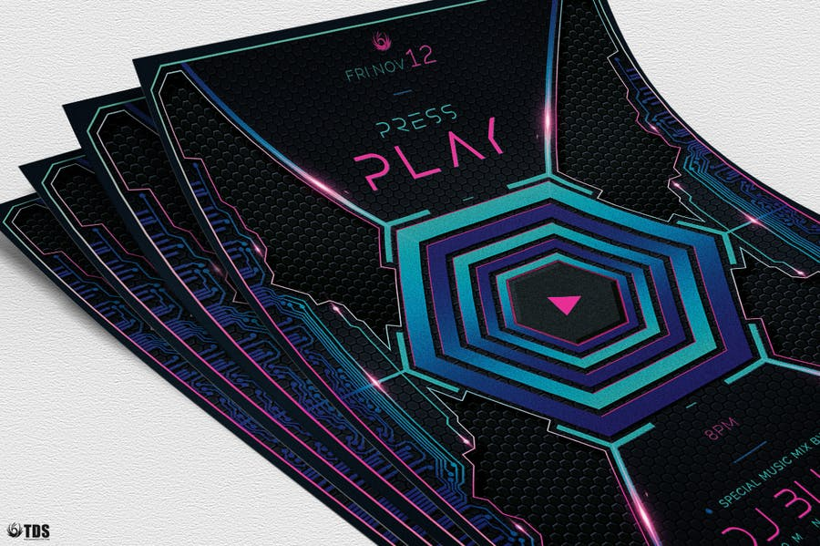 Press Play Flyer Template  - 3