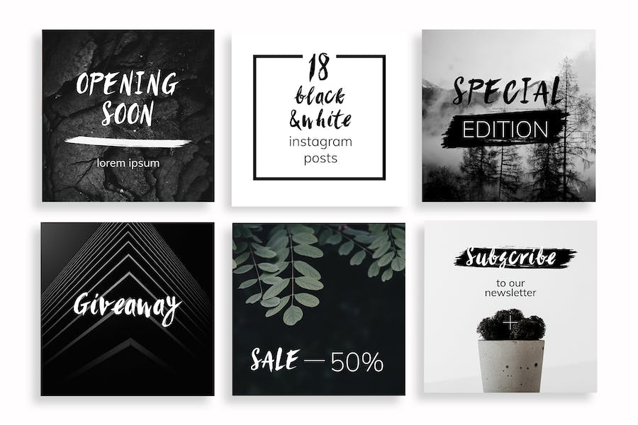 Black & White Instagram Posts Template - 1