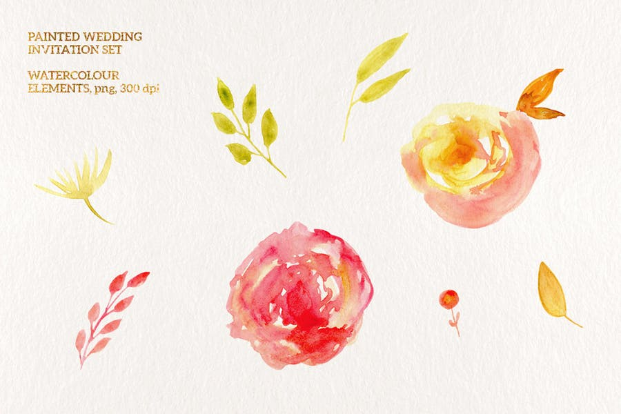 Painted Wedding Invitation Set - 3