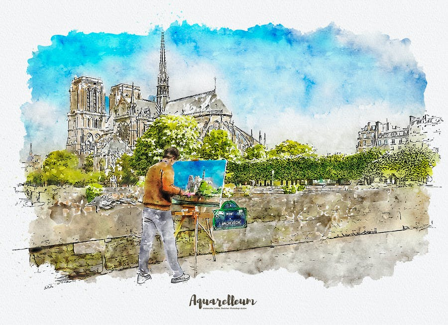 Aquarelleum - Urban Sketch Photoshop Action - 3