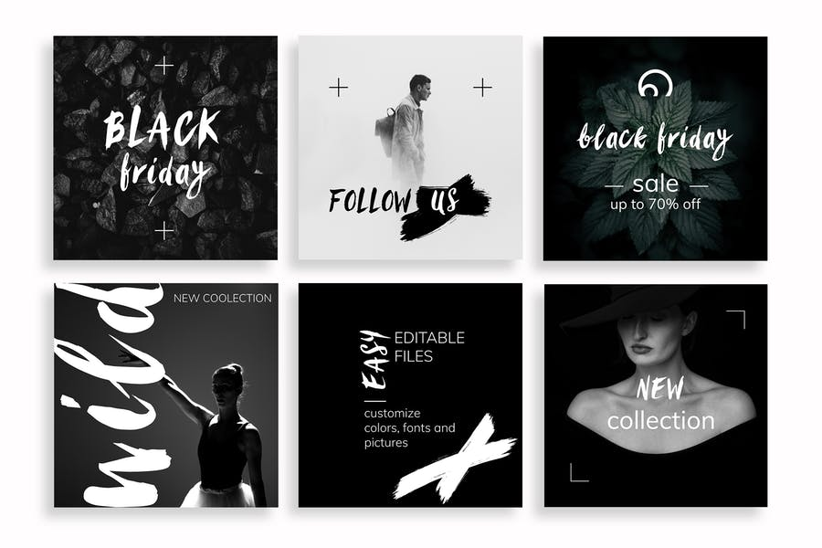 Black & White Instagram Posts Template - 2