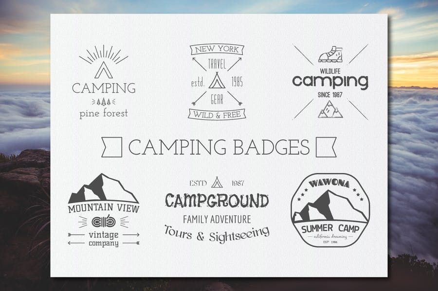 Outdoor Retro Camping Badges and Logos - 0