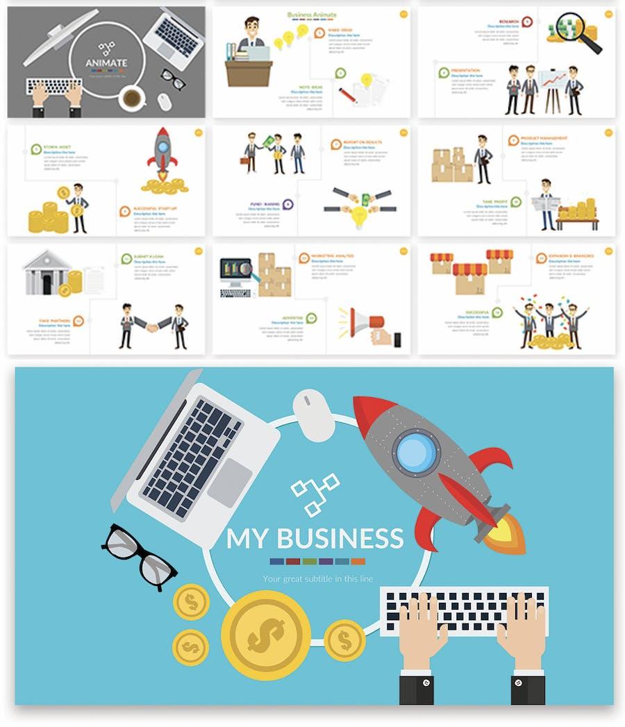 Business Animate Powerpoint Presentation  - 0