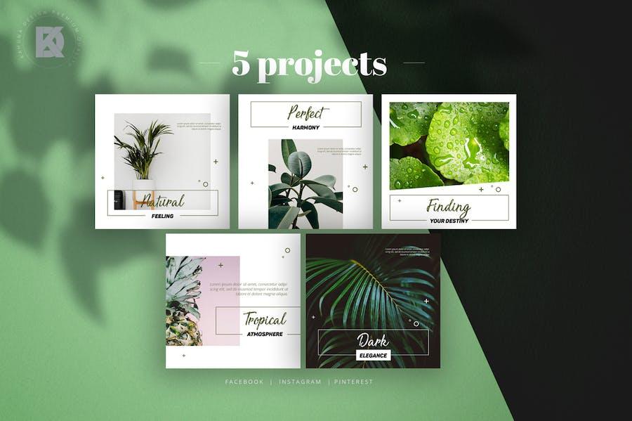 Natural Green Social Media Pack - 3
