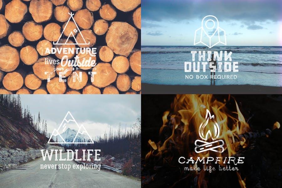 Outdoor Vintage Adventure Badges / Logo Set - 3