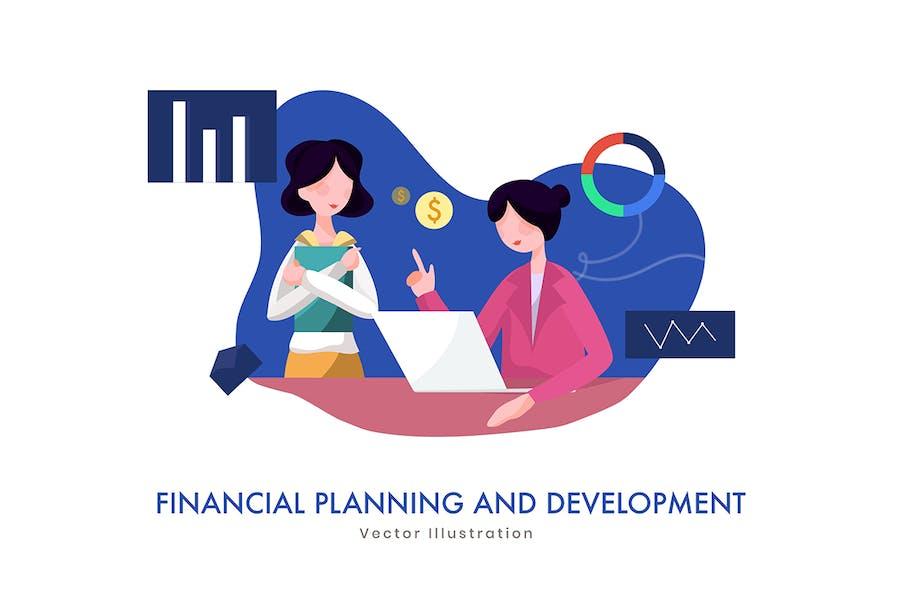 Financial Business Plan vector Illustration - 0