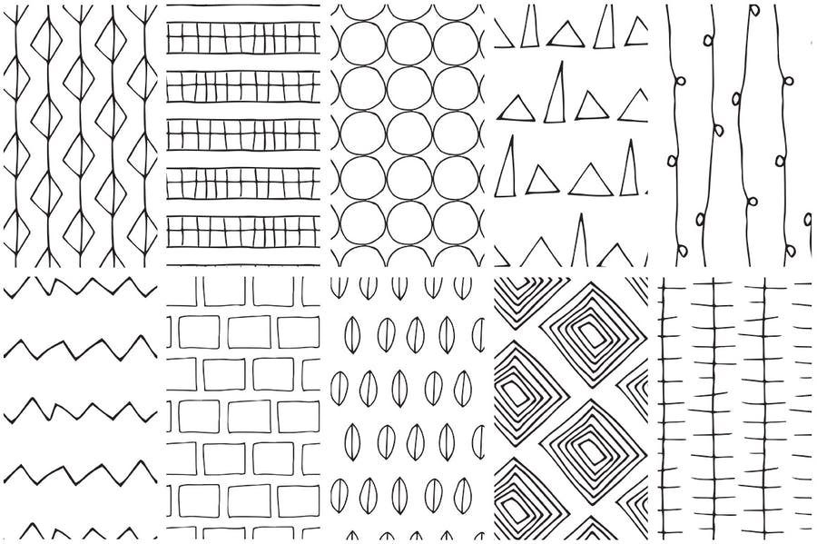 Simple Line Handdrawn Patterns - 3