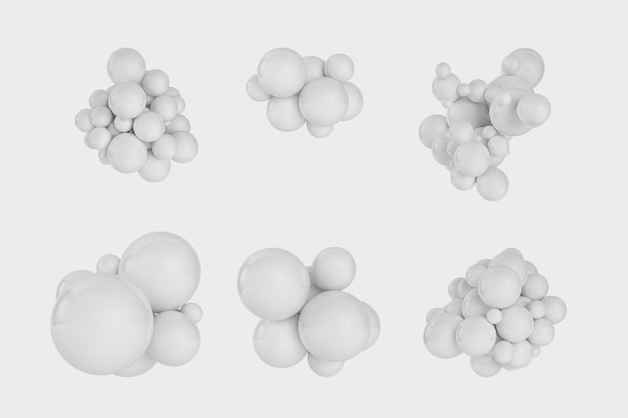 Abstract 3D rendering of Spheres | White  + Orange - 2