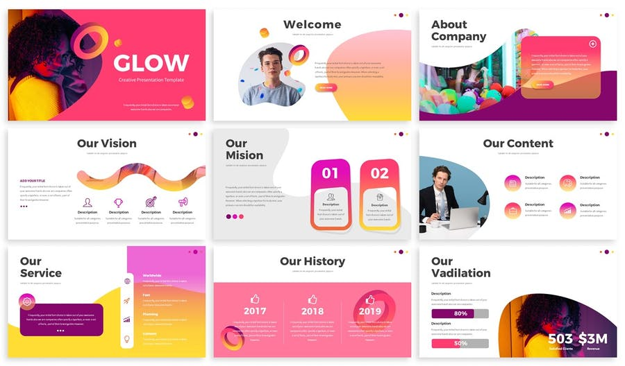 Glow - Gradient Powerpoint Template - 0