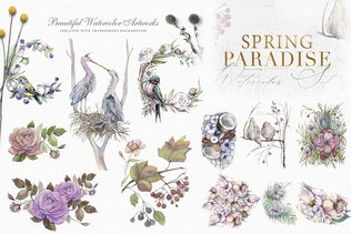 Spring Paradise Watercolor Clipart Set - 0