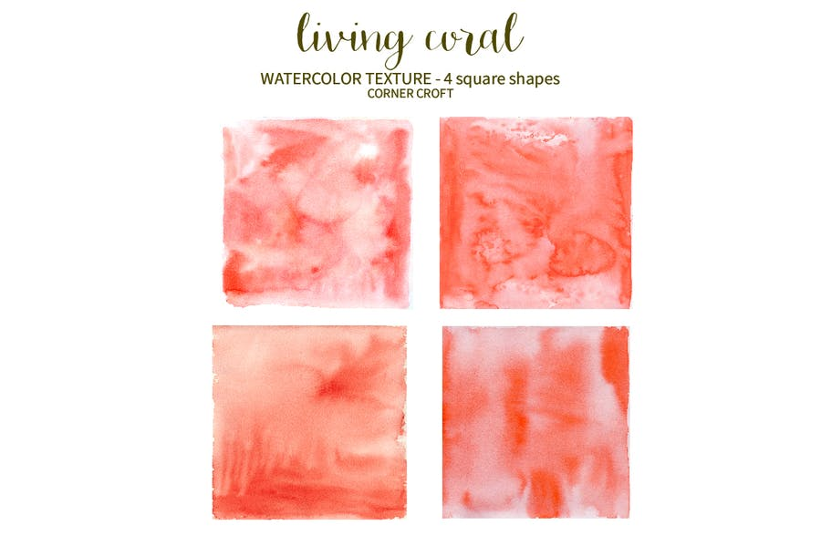 Watercolor Texture Living Coral - 3