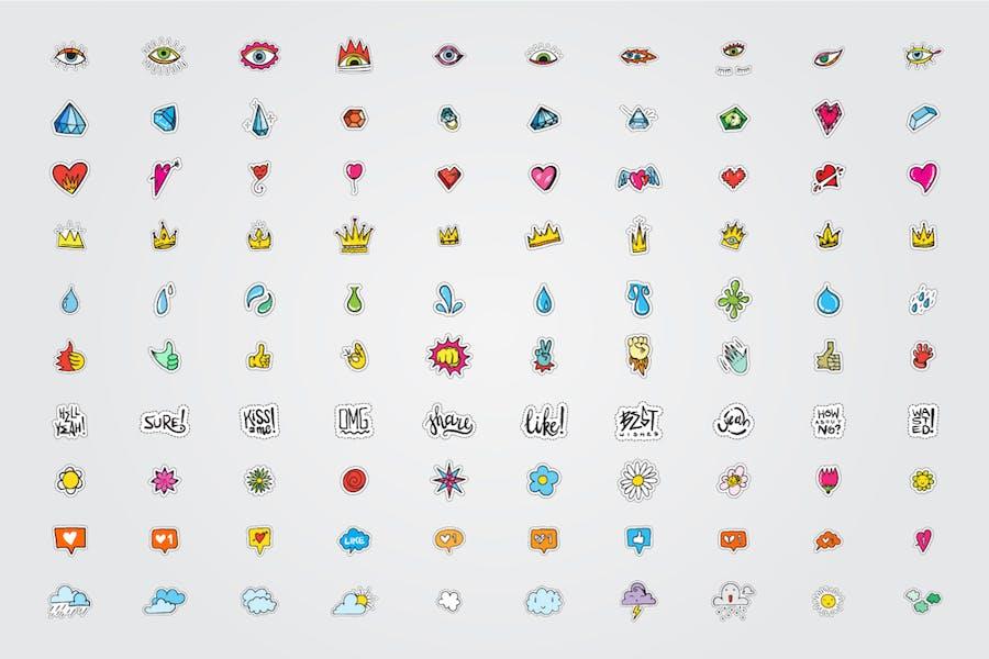 300+ Stickers Vector Set - 0
