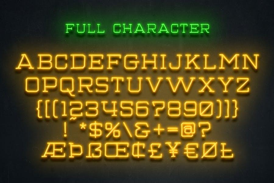 Gamblin Light Neon Font - 0