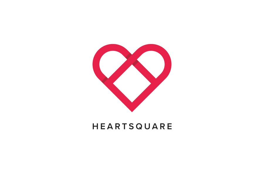 Heart Square Logo Template - 3