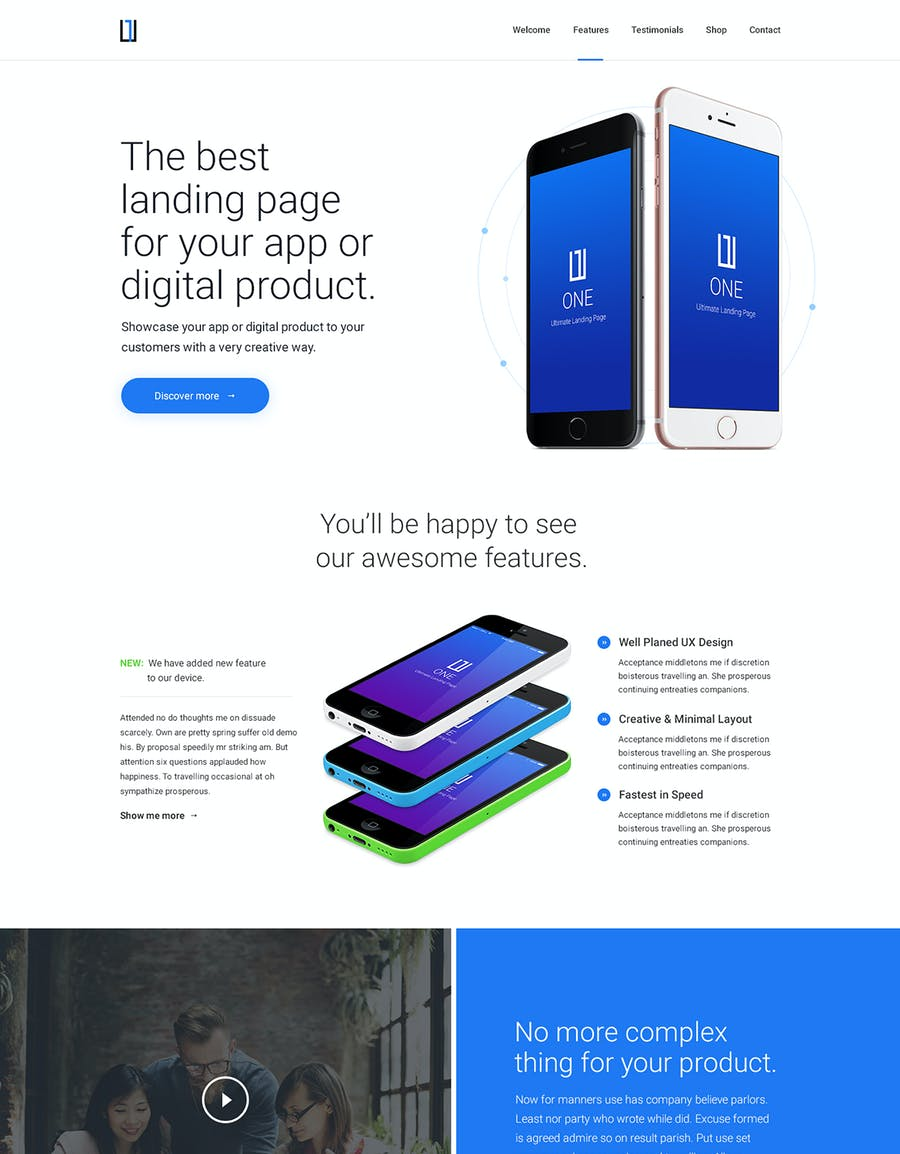 One - HTML Product Landing Page - 0