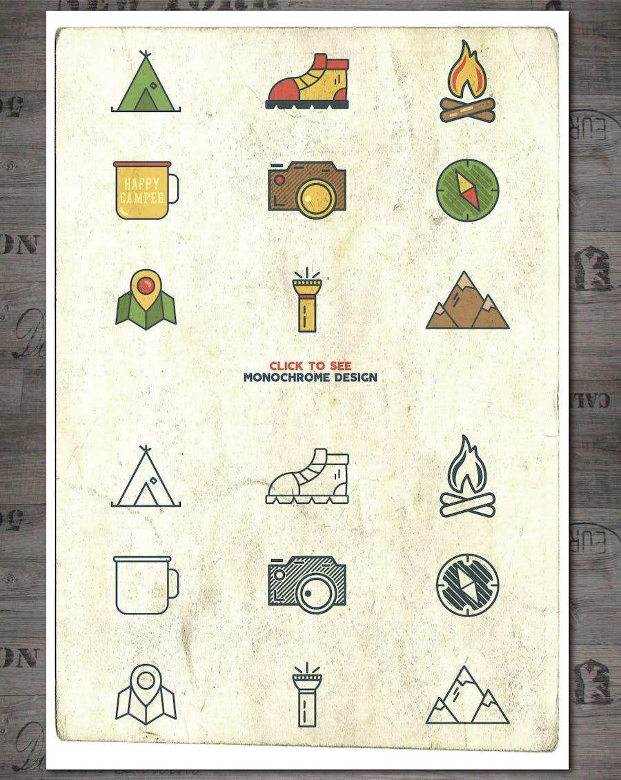 Outdoor Vintage Adventure Badges / Logo Set - 1